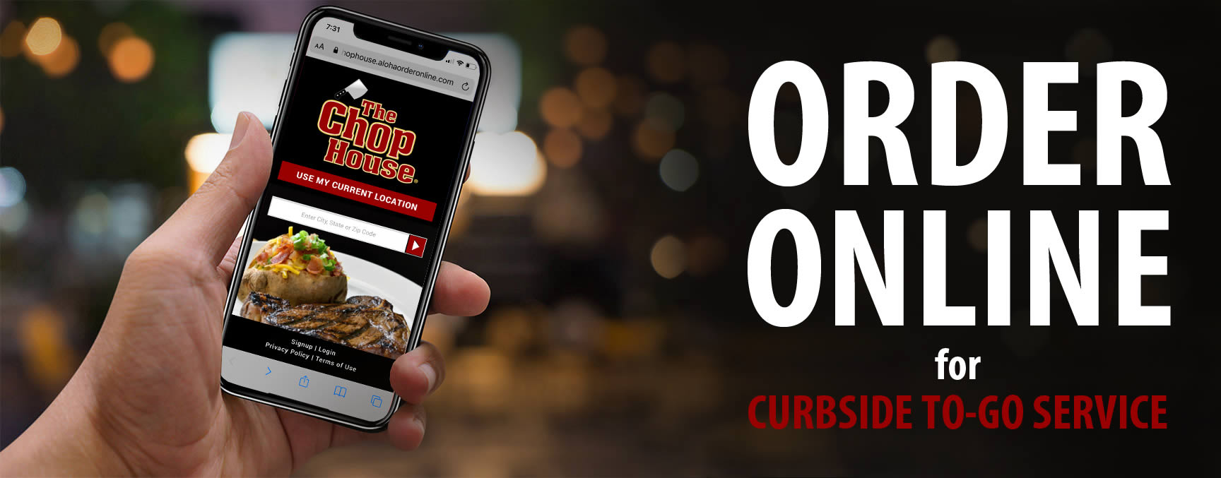 The Chop House online ordering for curbside to-go service (all locations except Sevierville, TN).