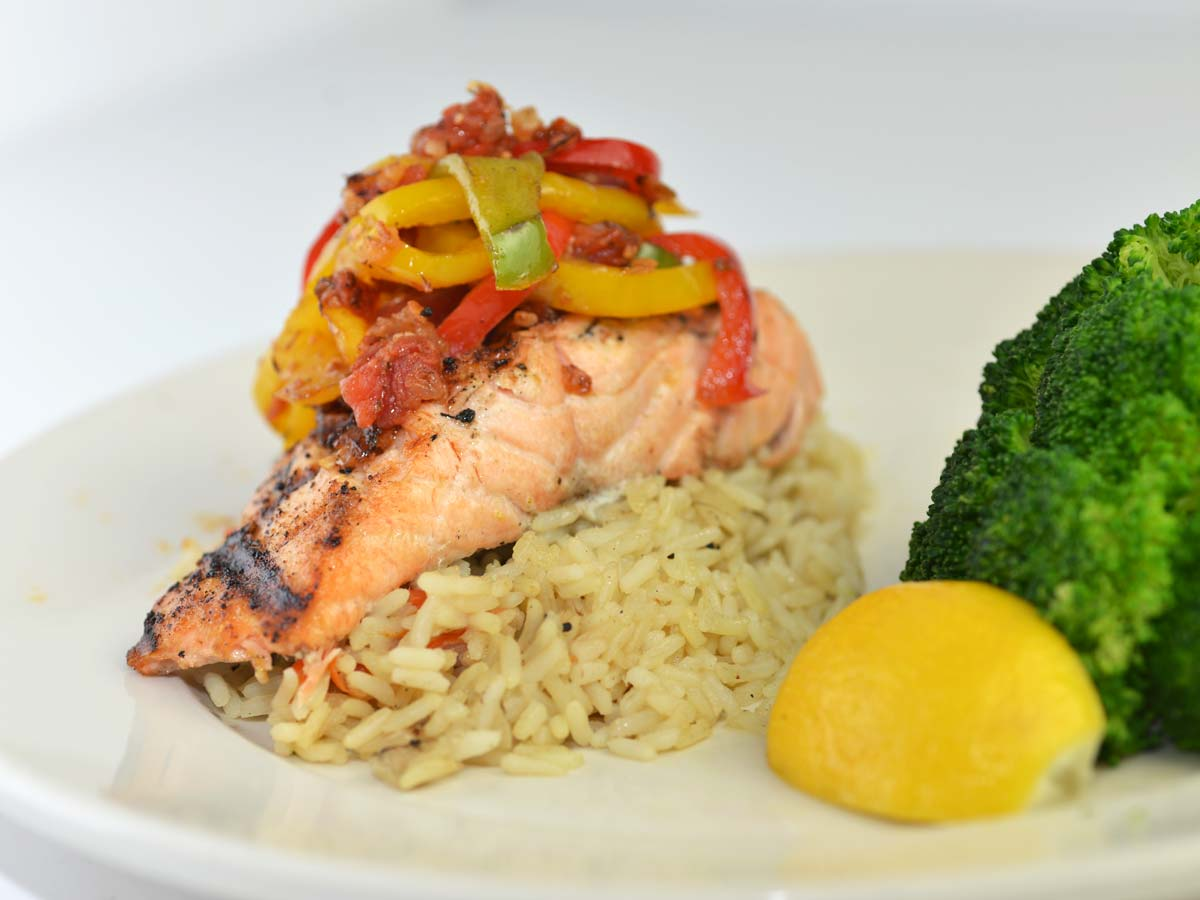 Grilled Salmon with Peperonata